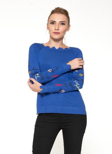 WHIP Design Düz V Yaka Uzun Kol Triko Kazak Mavi